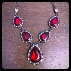 Roman Red / White Rhinestone Blk Necklace